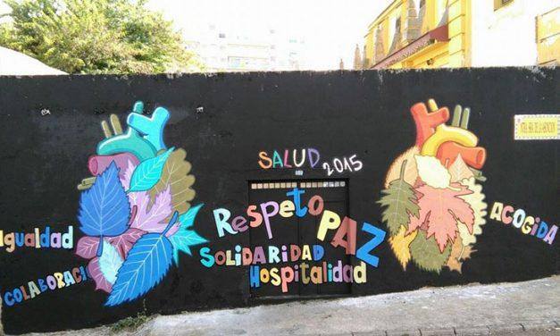 """Mural colaborativo con jóvenes, Semana por la Salud 2015. """"Margen derecho del Guadiana"""", Badajoz"""