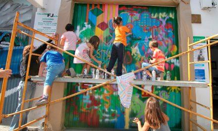 Segundo Asalto participa con un taller de pintura mural en la inauguración del curso 2014-2015 AVV El Progreso
