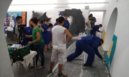 """Mural colaborativo con los chicos de """"Inclusives"""" Villanueva de la Serena, Badajoz"""