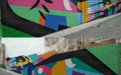 """Mural Colaborativo con las familias y vecinxs de la """"AAVV Casco Antiguo"""", Badajoz"""